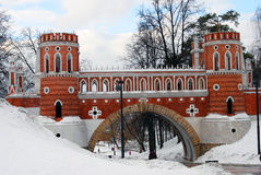 View of Tsaritsyno park in Moscow in winter. Old bridge. Royalty Free Stock Photos