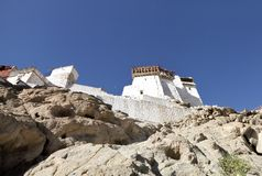 A view of Tsemo monastery on hilltop Royalty Free Stock Photography