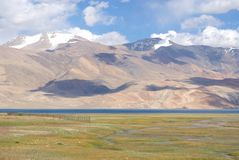 View of Tso Moriri lake in Ladakh in Himalayas with high peaks Royalty Free Stock Photo