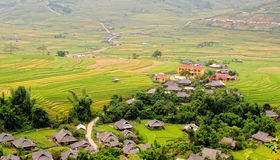 View of the Tu Le village with rice fields in Yen Bai, Vietnam Stock Image