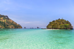 View of tub island the miracle beach and crystal clear water in krabi, Thaiand. Stock Photos
