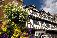 A view of the Tudor Tourism Office, Castle Hill, Lincoln, Lincolnshire, UK -August 2009 stock image