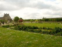 View on the tuilerie garden. And louvre in spring Royalty Free Stock Images