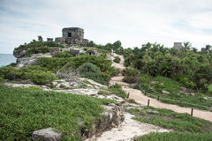 View of Tulum. Landscape view of Tulum archaelogical site, located at Quintana Roo, Mexico Royalty Free Stock Photography