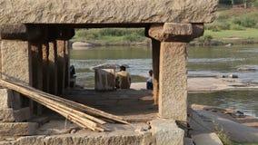 View of the Tungabhadra river in Hampi. stock video