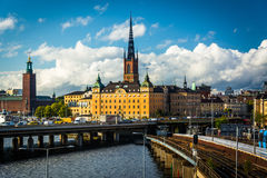 View of the Tunnelbana tracks and Galma Stan from Slussen, in S Royalty Free Stock Image