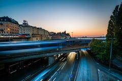 View of Tunnelbana tracks at sunset, in Slussen, Södermalm, Sto Stock Photos
