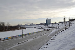 View of the Tura River and the embankment in Tyumen, Russia. Feb Royalty Free Stock Photography