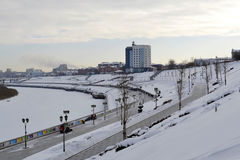 View of the Tura River and the embankment in Tyumen, Russia. Feb Royalty Free Stock Photos