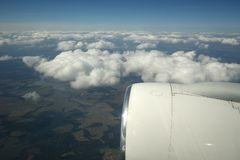 View of the turbine airplane Royalty Free Stock Photo