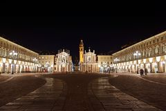Beautiful Italy: Turin by night stock image