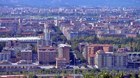 Turin, view from the hill. View of Turin and the southern suburbs with the background of the mountains Royalty Free Stock Images