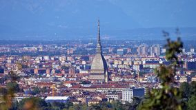 Turin, view from the hill. View of Turin and the southern suburbs with the background of the mountains Stock Image