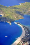 The view of Turkey Oludeniz beach. The view of Fethiye Oludeniz beach in Turkey when paraglide in the sky royalty free stock images
