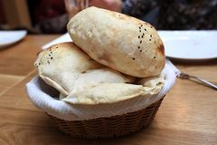 View of turkish bread. In a basket Stock Image