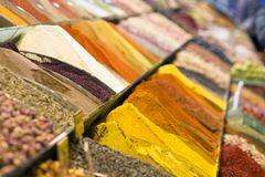 View of Turkish spices in the Grand Spice Bazaar. Colorful spices in sale shops in the Spice Market of Istanbul, Turkey stock photo