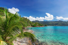 View of turquoise blue lagoon and hill and  palm t Royalty Free Stock Photos