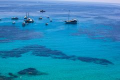 View of the turquoise water in the Lampedusa sea stock photography