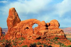 Morning Sunlight on Turret Arch, Arches National Park, Utah stock photography