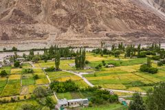 View of the Turtuk valley and the Shyok river in Ladakh, India. View of the Turtuk valley and the Shyok river. Turtuk is the last village of India on the India royalty free stock photography