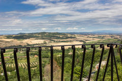 View of the Tuscan countryside from a balcony in Montepulciano Royalty Free Stock Photo