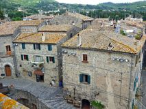 A view of an Tuscan hill town from the castle walls royalty free stock image