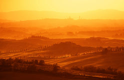 View on Tuscan Hills. Near Siena in sunset stock photo
