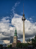 View of Tv Tower of Berlin with Maria church in Germany Royalty Free Stock Image