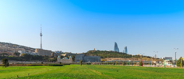 View of the TV tower and Upland Park. Baku city. Azerbaijan. Panoramic view to Upland Park royalty free stock photography
