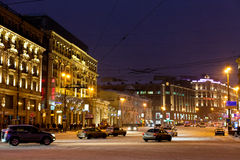 View of Tverskaya street in winter night in Moscow. MOSCOW, RUSSIA - JANUARY 18: view of Tverskaya street from Manege Square in winter night. Tverskaya Street Royalty Free Stock Image