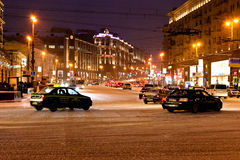 View of Tverskaya street in winter night in Moscow Stock Image