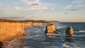 View of the twelve apostles at sunset looking east. At port campbell on the great ocean road in victoria, australia royalty free stock photos