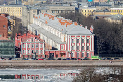 View of the Twelve Colleges building and  Rector of the University's outbuilding inSaint Petersburg Stock Photo