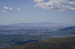 Far above salt lake city valley stock photography