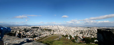 View from Twin Peaks. Panorama view from Twin Peaks to San Francisco Stock Photo