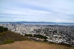 View from Twin Peaks in San Francisco of the Bay Area. A view from Twin Peaks scenic viewpoint of the San Francisco skyline. From this view, you can see downtown Royalty Free Stock Photography