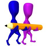 View two 3d puppets carry yellow pencil. Side view two 3d puppets carry yellow pencil Royalty Free Stock Photos