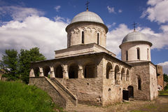 View of two churches in Ivangorod medieval fortress Royalty Free Stock Image