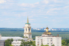 View of two churches and a residential building Royalty Free Stock Photos