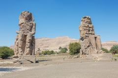 View of the two Colossi of Memnon. In the vicinity of Luxor royalty free stock photos