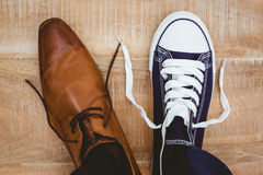 View of two different shoes Royalty Free Stock Image