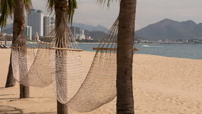 View of two hammocks across palm trees on sand beach. Panorama of two hammocks across palm trees on sand beach against Vietnamese resort city stock footage