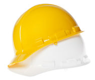 Isolated Hard Hat - 45° White & Yellow Stock Image