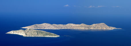 Panoramic view of two islands in Aegean sea, Rhodes island - Greece Stock Image