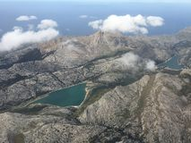 Aerial of two lakes in Mallorca stock photo