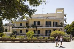 View of two male walking in Corfu Kerkyra. royalty free stock photos