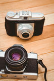 View of two old cameras Royalty Free Stock Photography