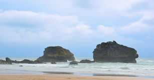 View of two rocks in Biarritz Stock Photo