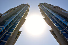 The view on two towers of JW Marriott Marquis Dubai hotel. DUBAI, UAE - SEPTEMBER 10: The view on two towers of JW Marriott Marquis Dubai hotel on September 10 stock photo
