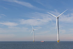 View of two windturbines in the Dutch Noordoostpolder, Flevoland Royalty Free Stock Photography